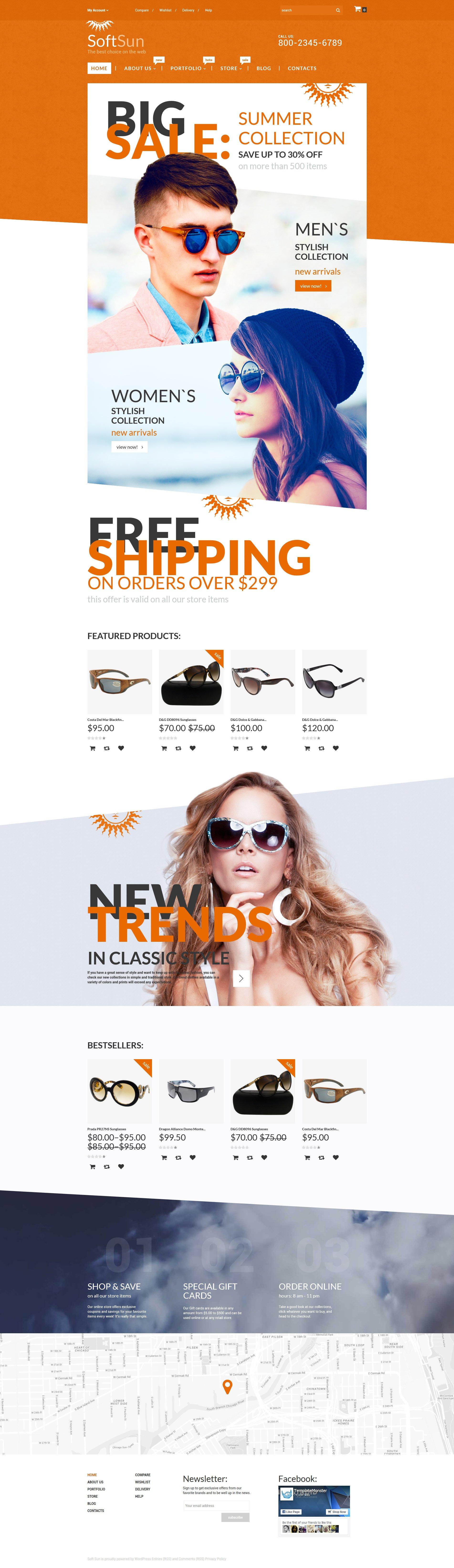 """Modello WooCommerce Responsive #55760 """"SoftSun"""" - screenshot"""