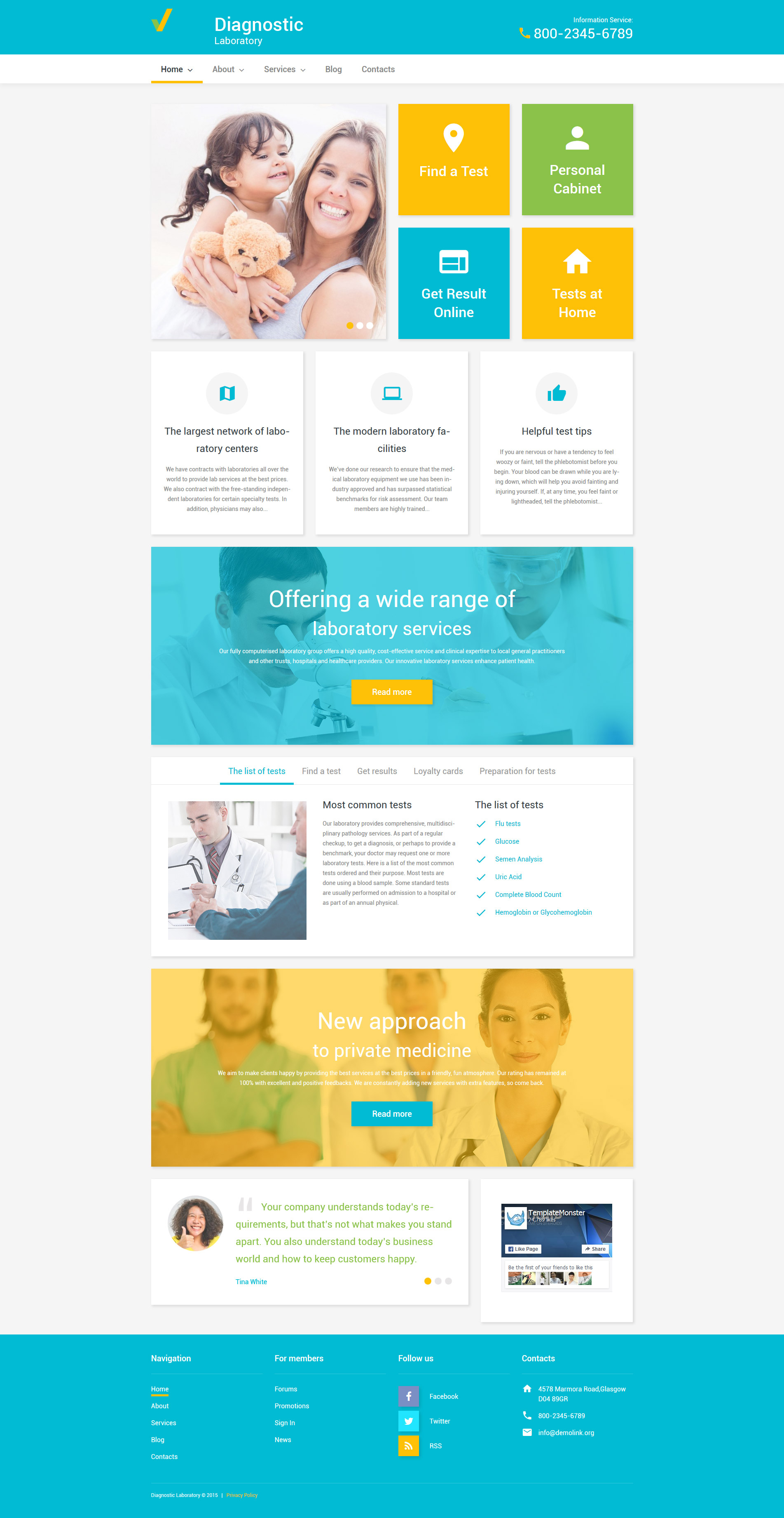 "Modello WordPress Responsive #55766 ""Diagnostic Laboratory"" - screenshot"