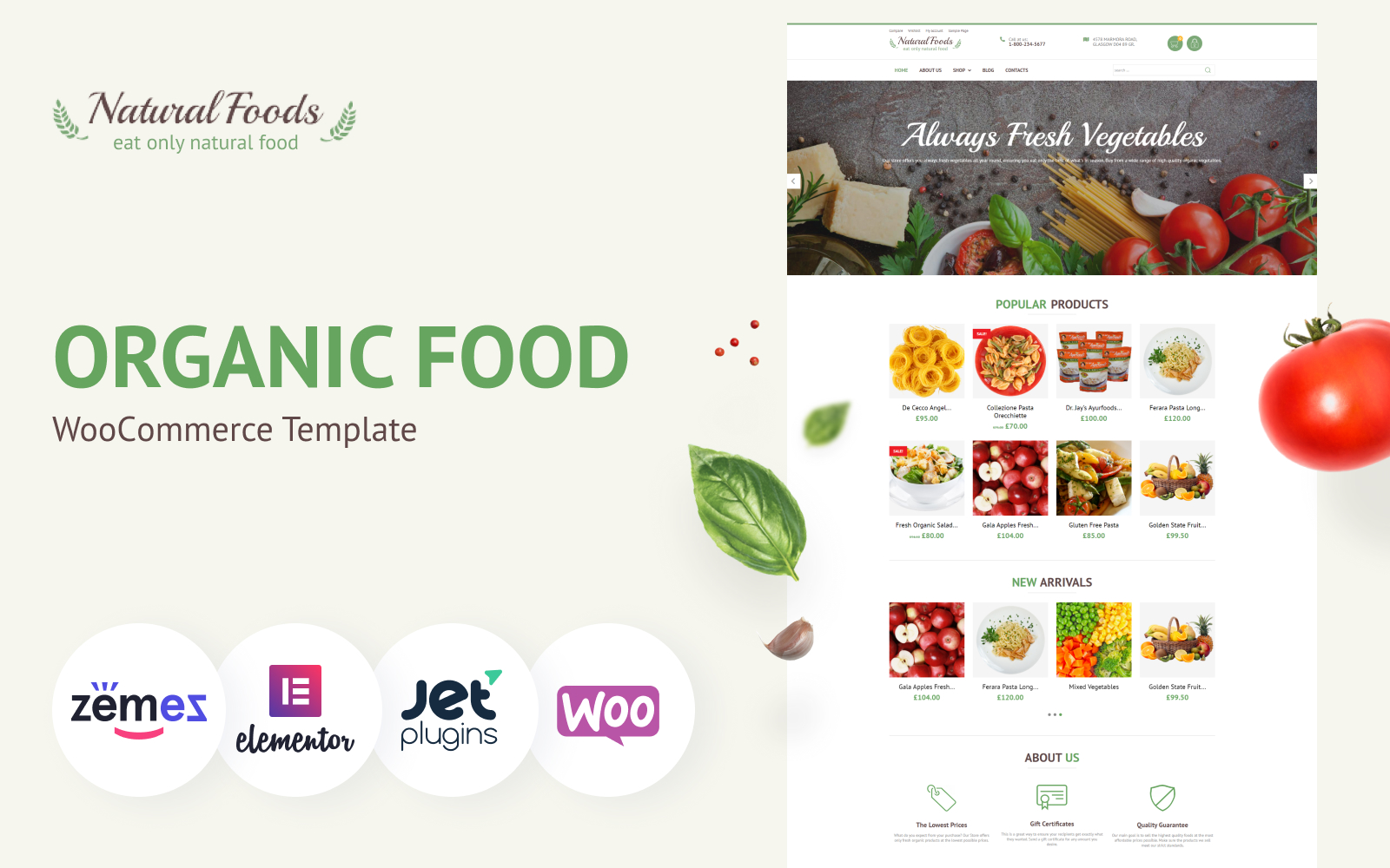"""Natural Foods - Organic Food Template for Online Stores"" thème WooCommerce adaptatif #55738"