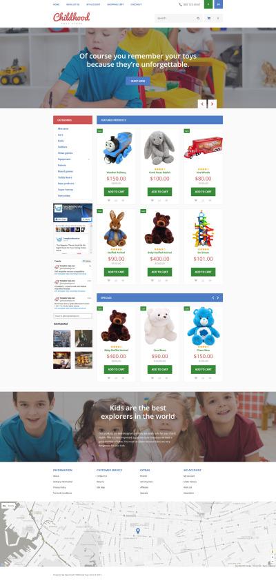 Адаптивный OpenCart шаблон №55727 на тему детские игрушки
