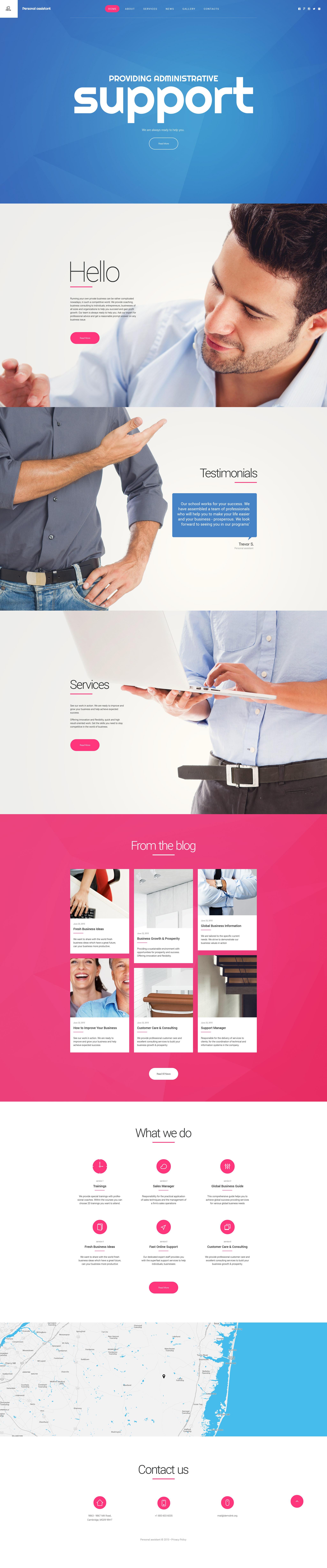 """Personal Assistant"" Responsive Website template №55721 - screenshot"