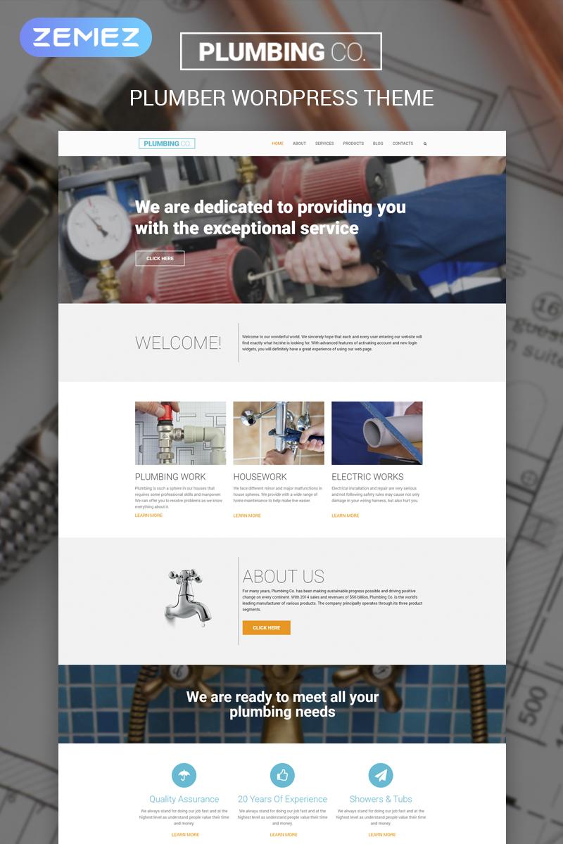 """""""Plumbing Co"""" - адаптивний WordPress шаблон №55759"""