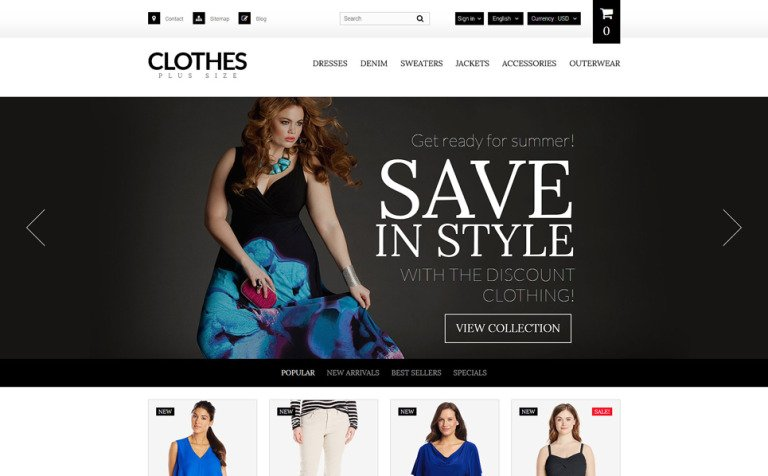 Plus Size Women's Clothing PrestaShop Theme
