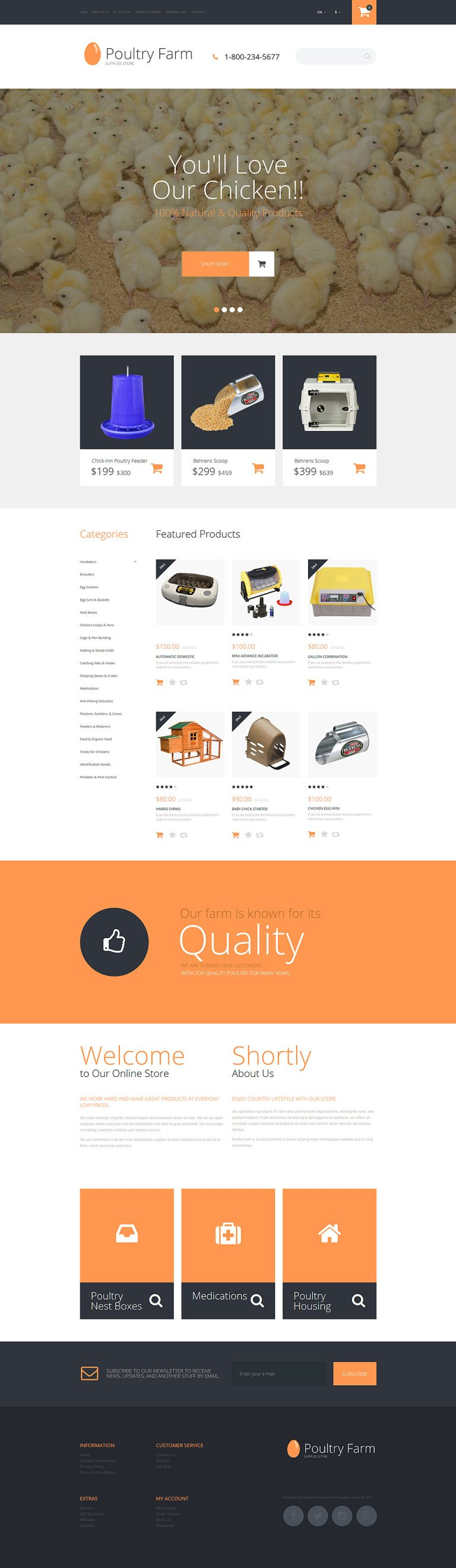 Poultry Farm OpenCart Template New Screenshots BIG