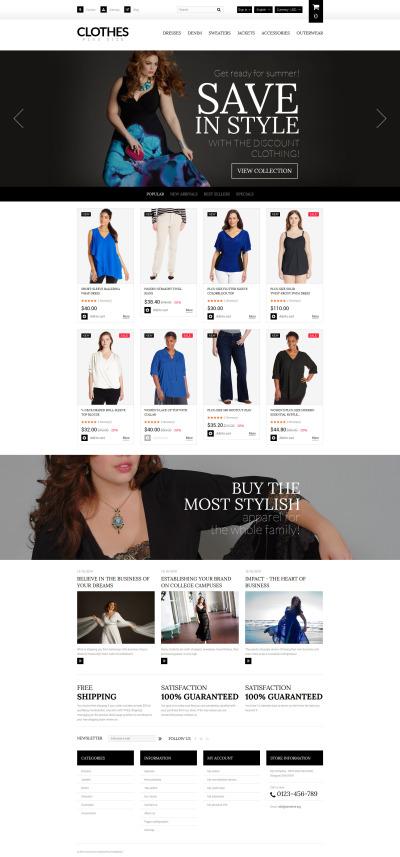 Адаптивный PrestaShop шаблон №55743 на тему магазин одежды