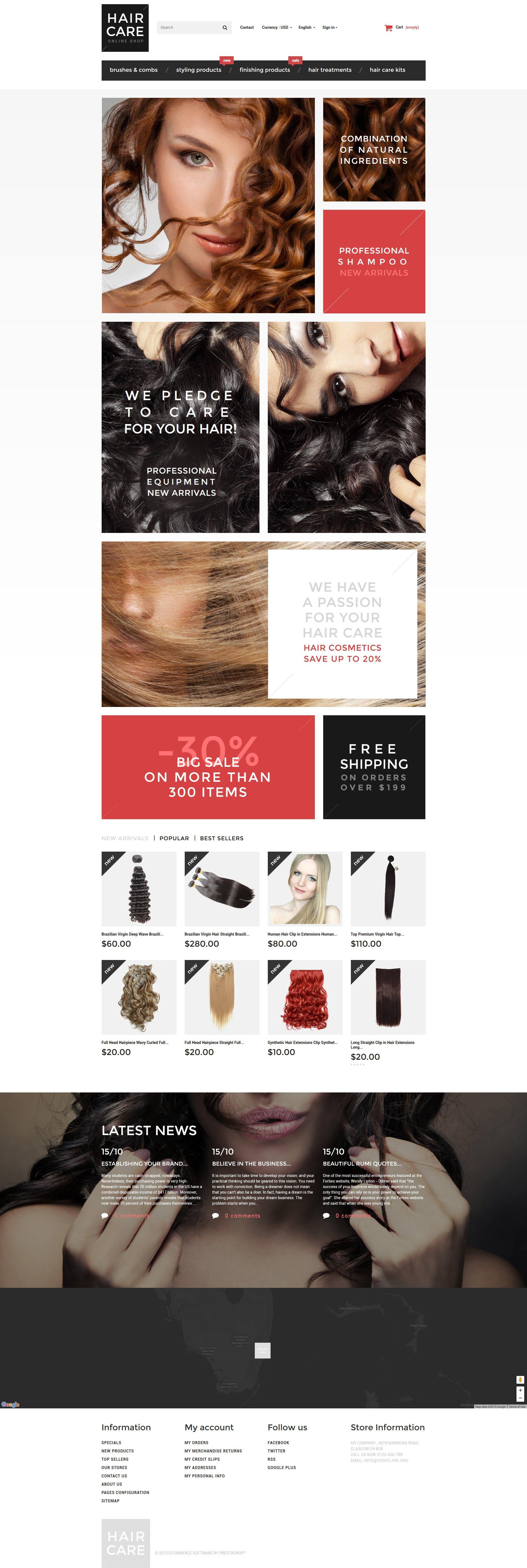 Responsive Hair Gloss Prestashop #55757 - Ekran resmi