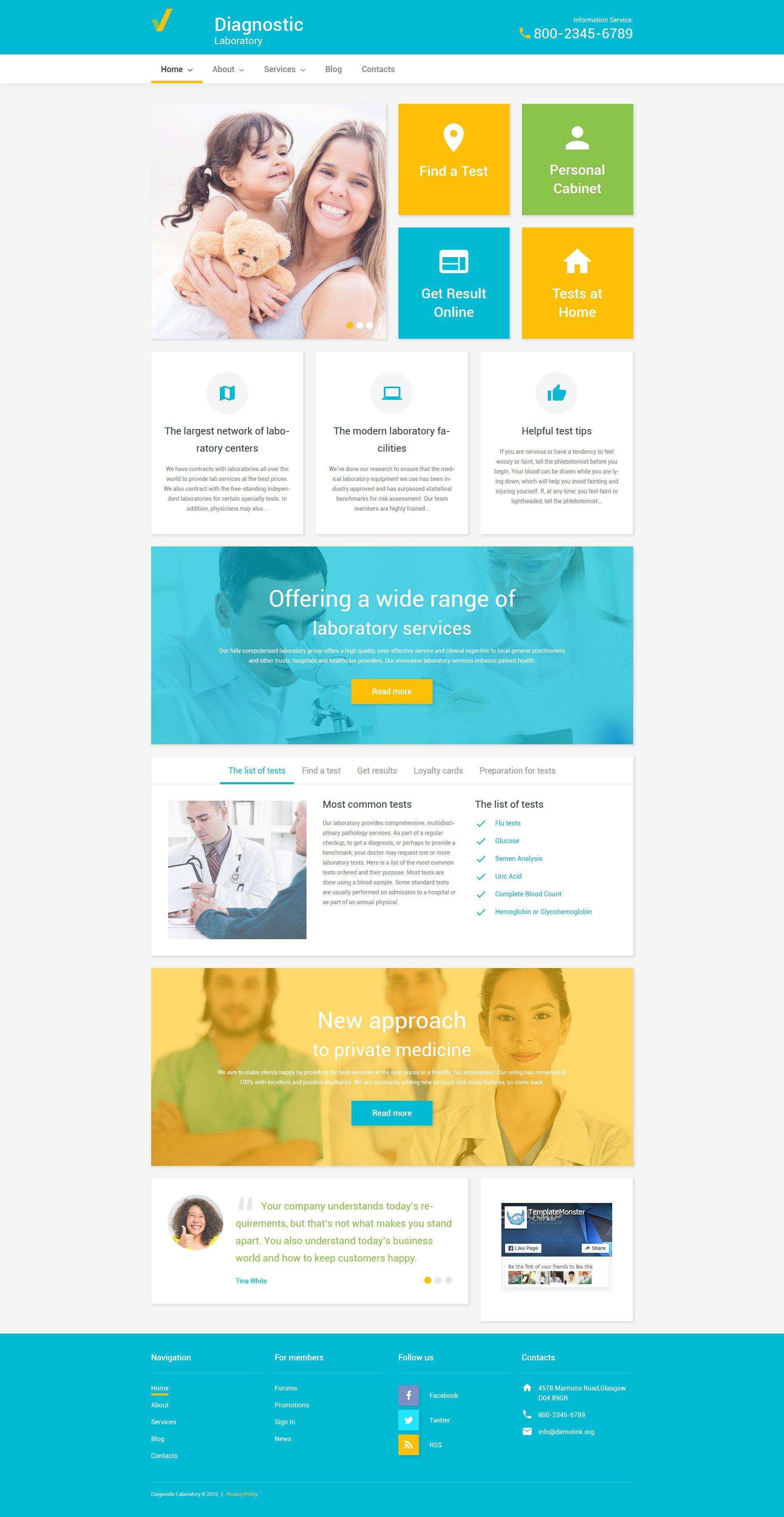 Responsywny motyw WordPress Diagnostic Laboratory #55766 - zrzut ekranu