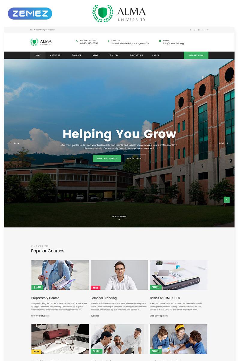 Responsywny szablon strony www ALMA - University Multipage HTML #55755