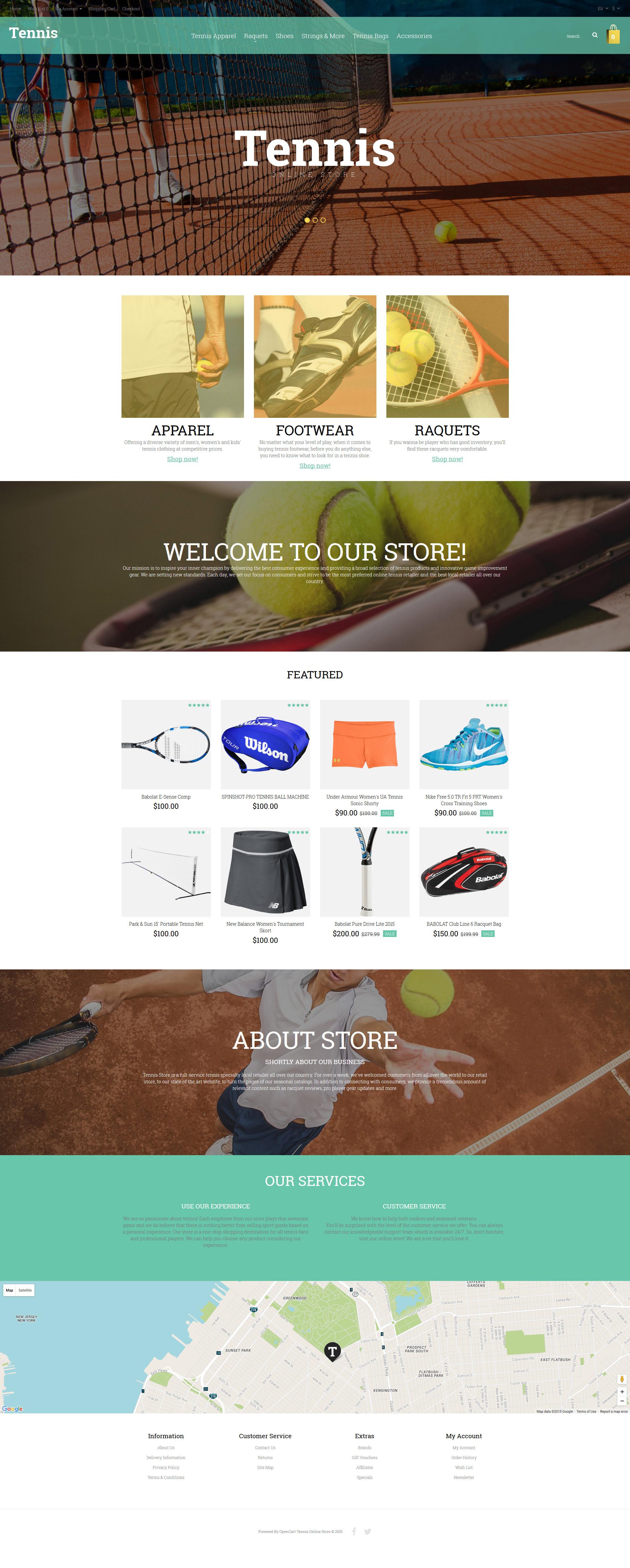 Responzivní OpenCart šablona na téma Tennis #55799