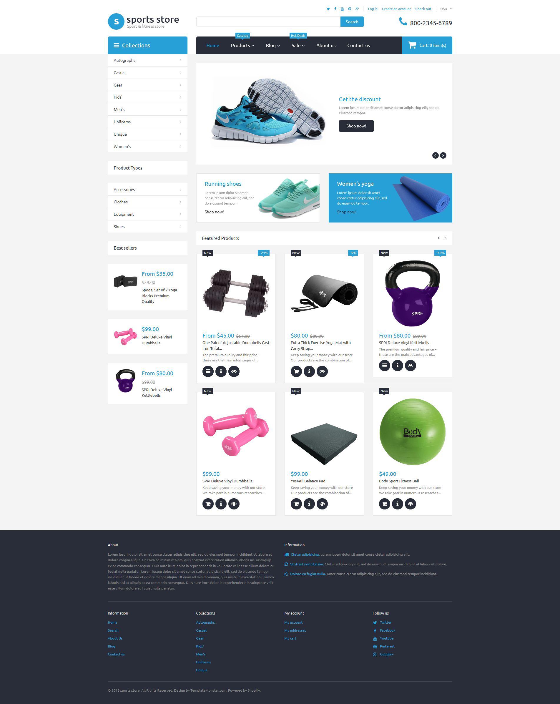 Reszponzív Sports Store Shopify sablon 55732 - képernyőkép