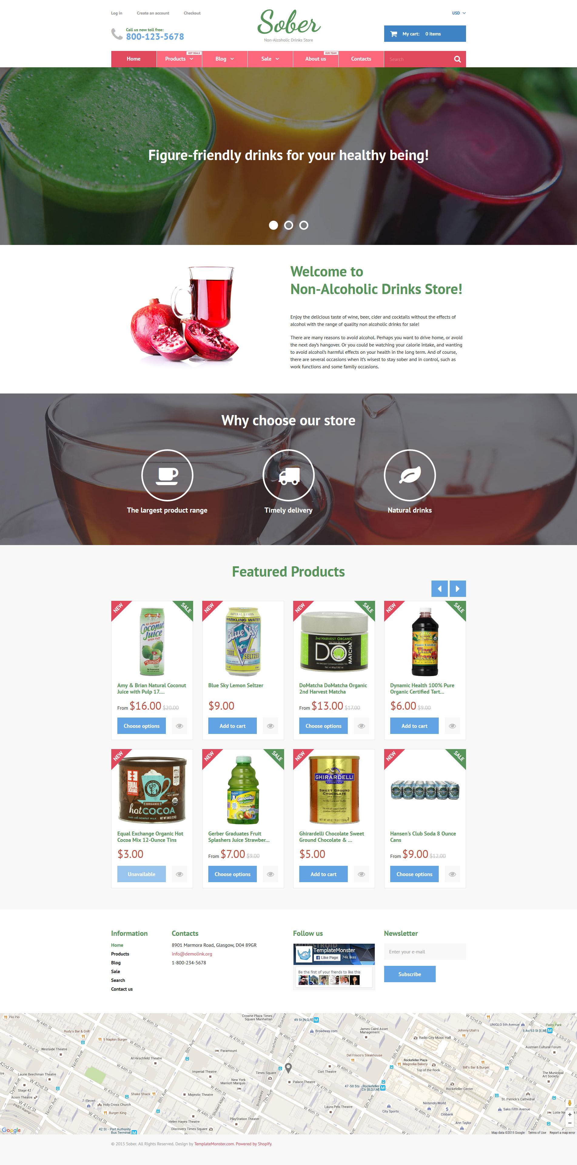 """""""Sober"""" - адаптивний Shopify шаблон №55742 - скріншот"""