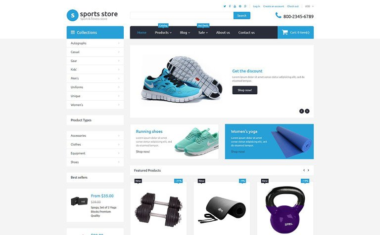 Sports Store Free Shopify Template - Shopify store templates