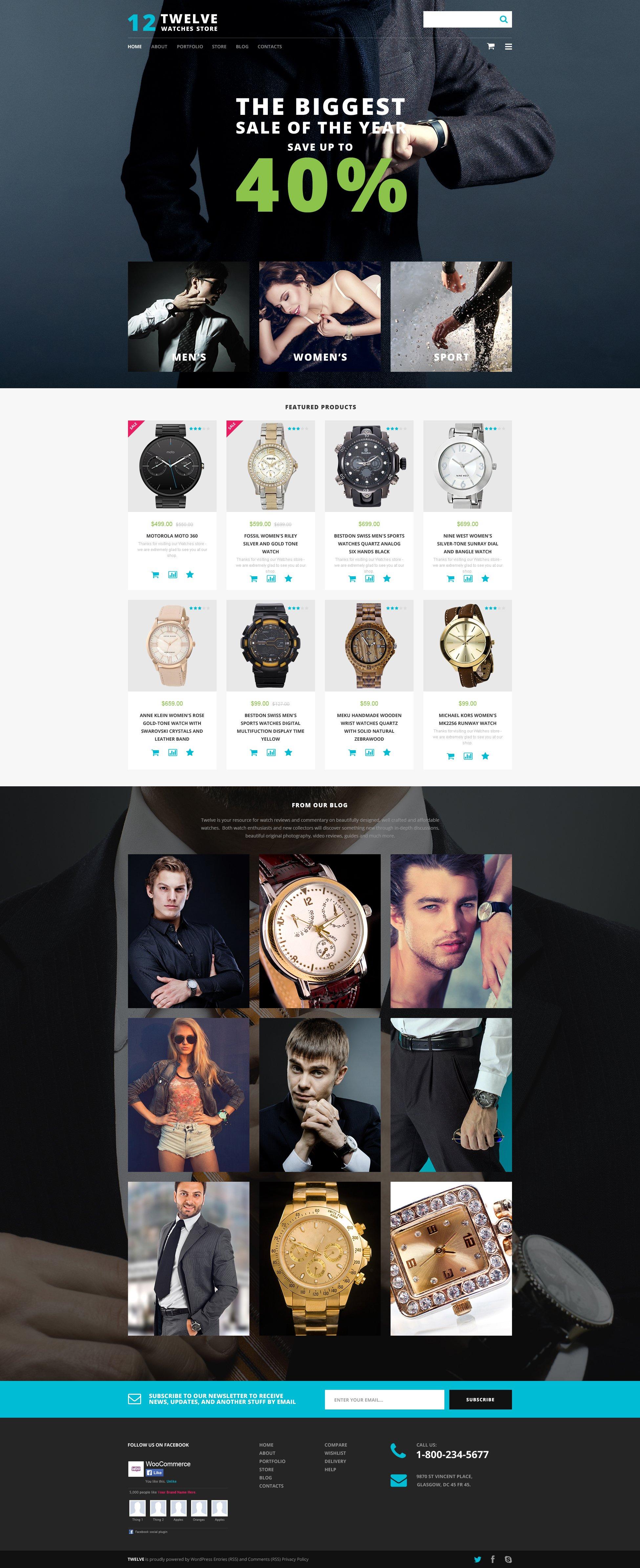 Tema WooCommerce Responsive para Sitio de Relojes #55718