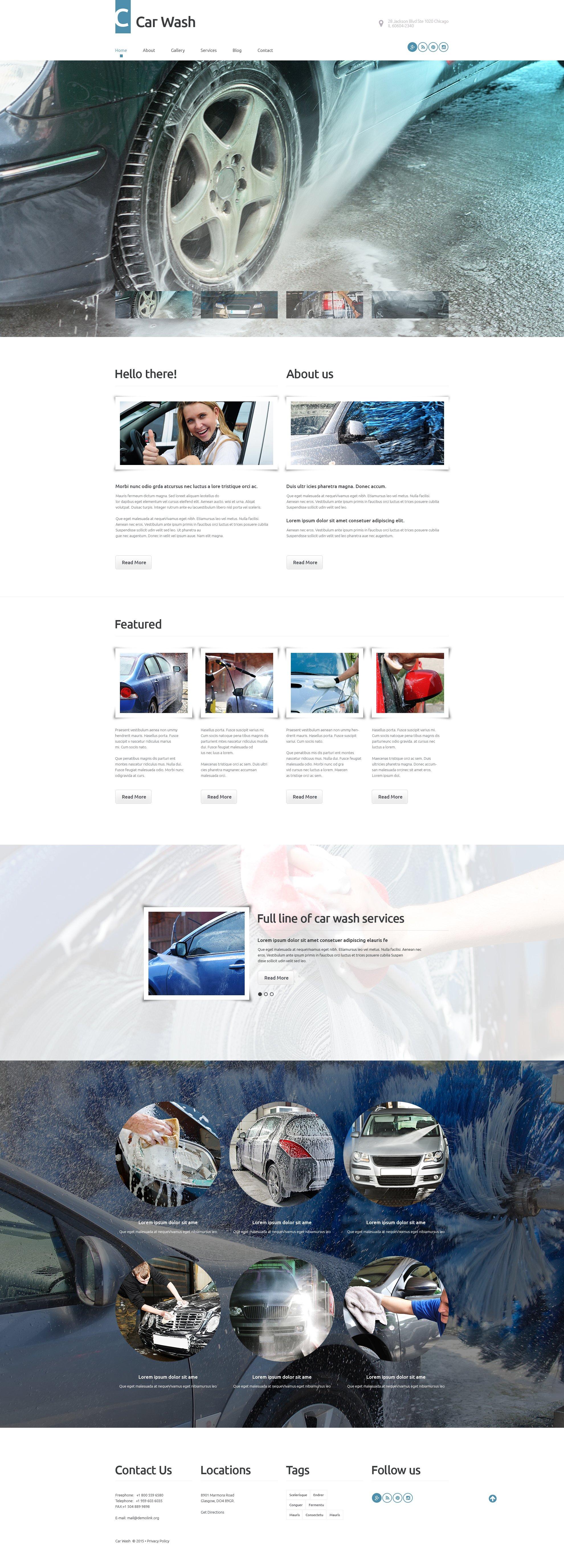 """Template WordPress Responsive #55750 """"Car Wash"""""""