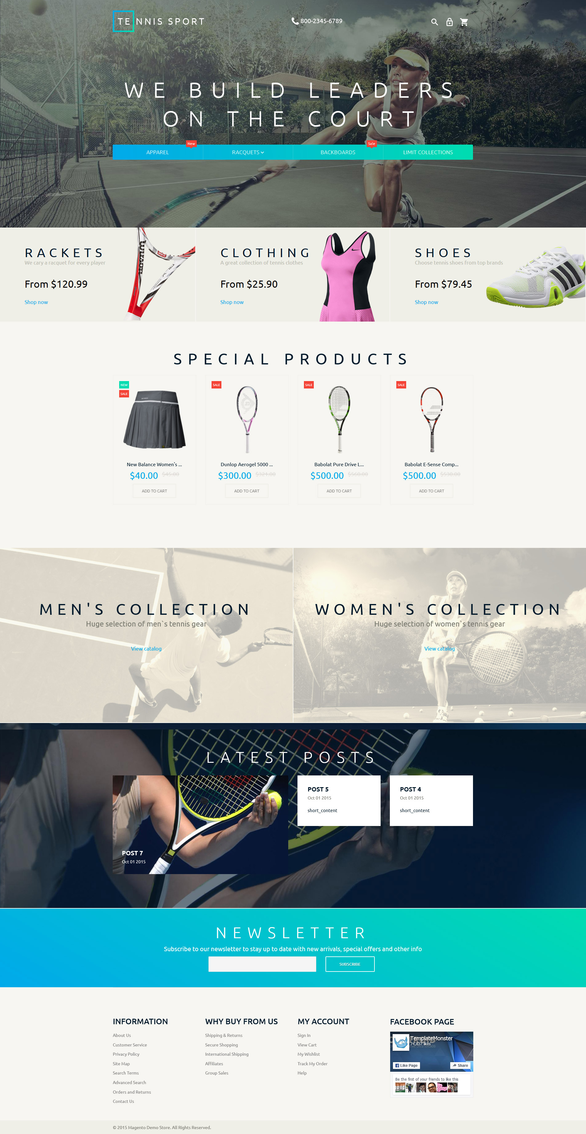 Tennis Accessories Magento Theme - screenshot