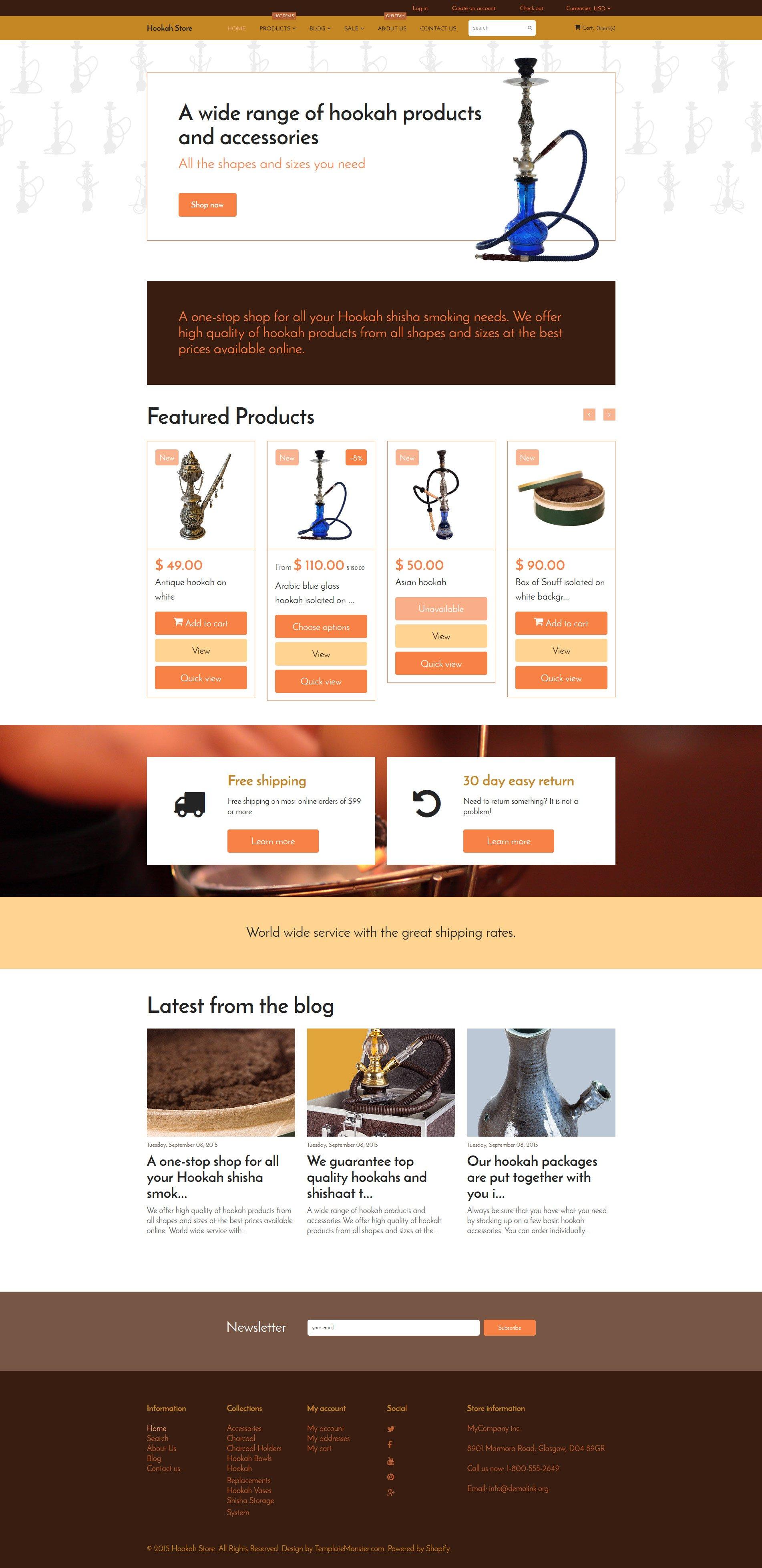 """Tobacco"" - адаптивний Shopify шаблон №55715"