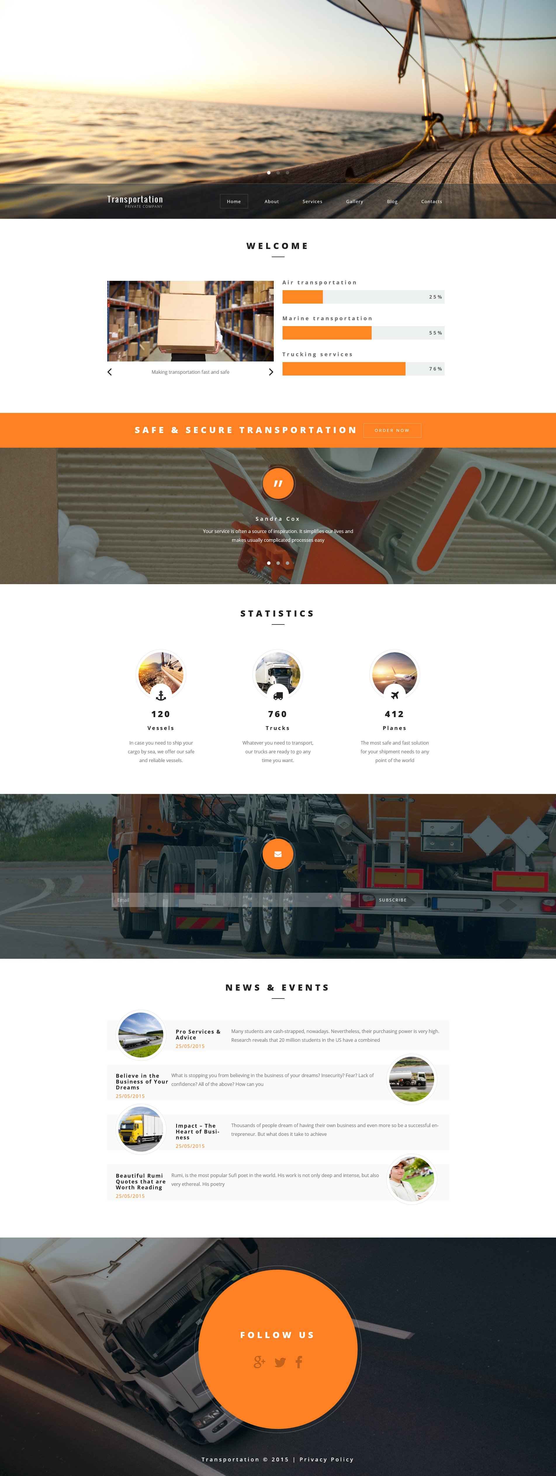 Transportation Private Company WordPress Theme - screenshot