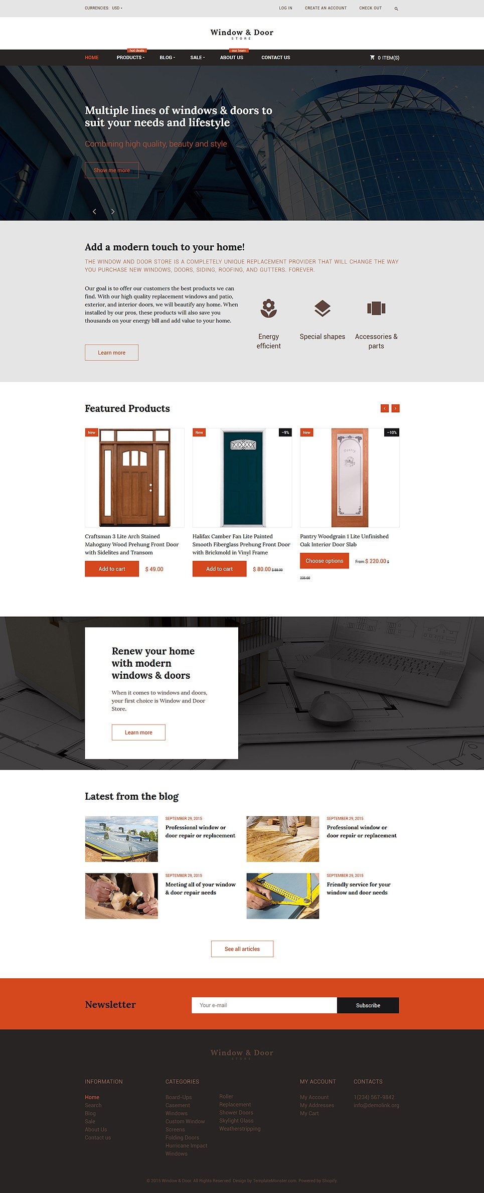 Home Improvement Contractor Shopify Theme - Shopify website templates