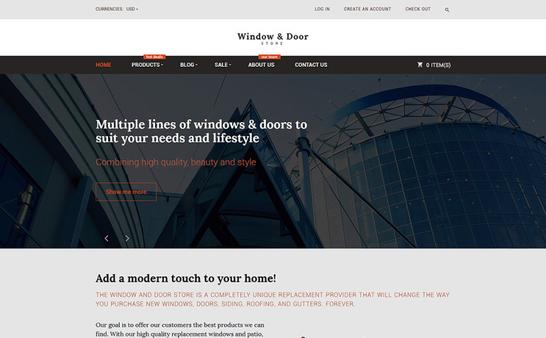 Windows and Doors Store Shopify Theme