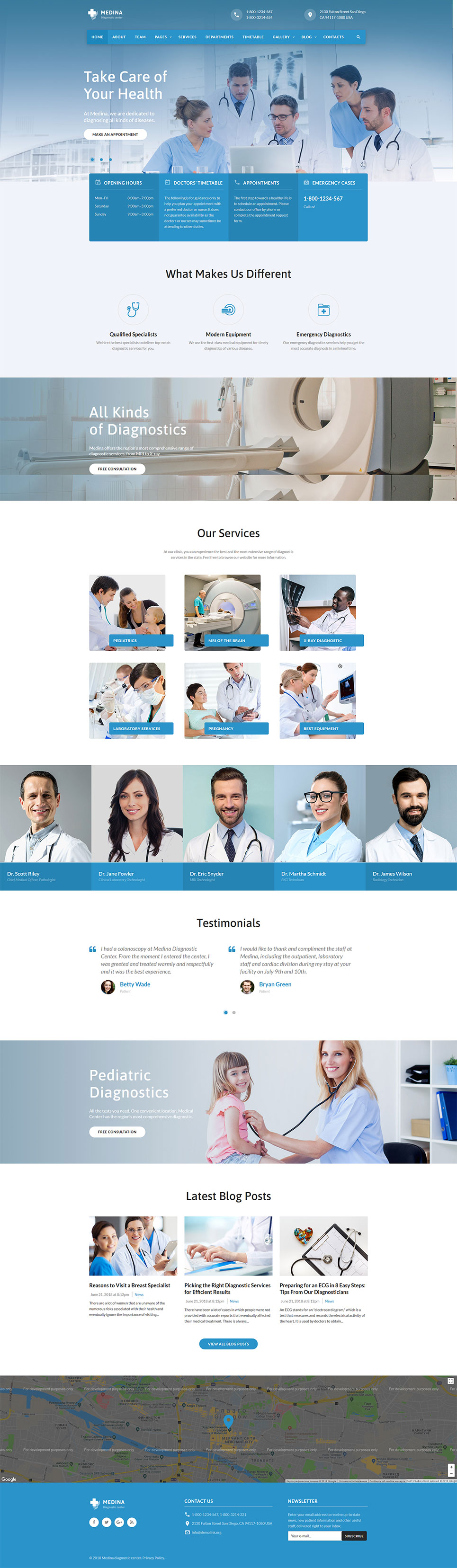 Medical Diagnostic Center template illustration image