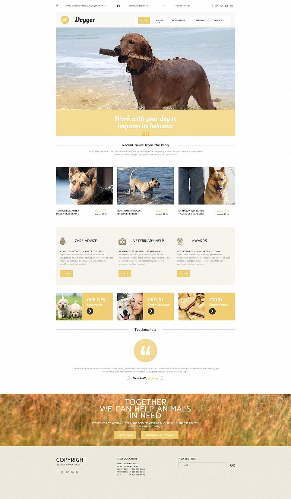Responsive site for animal trainers