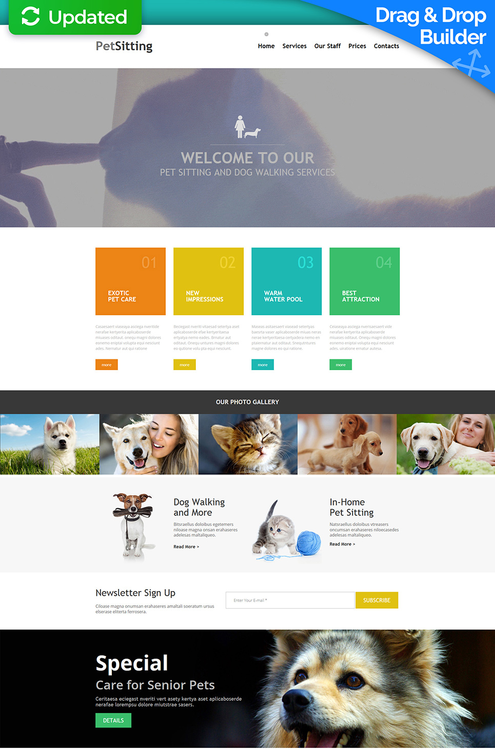 Responsive site template for animal trainers
