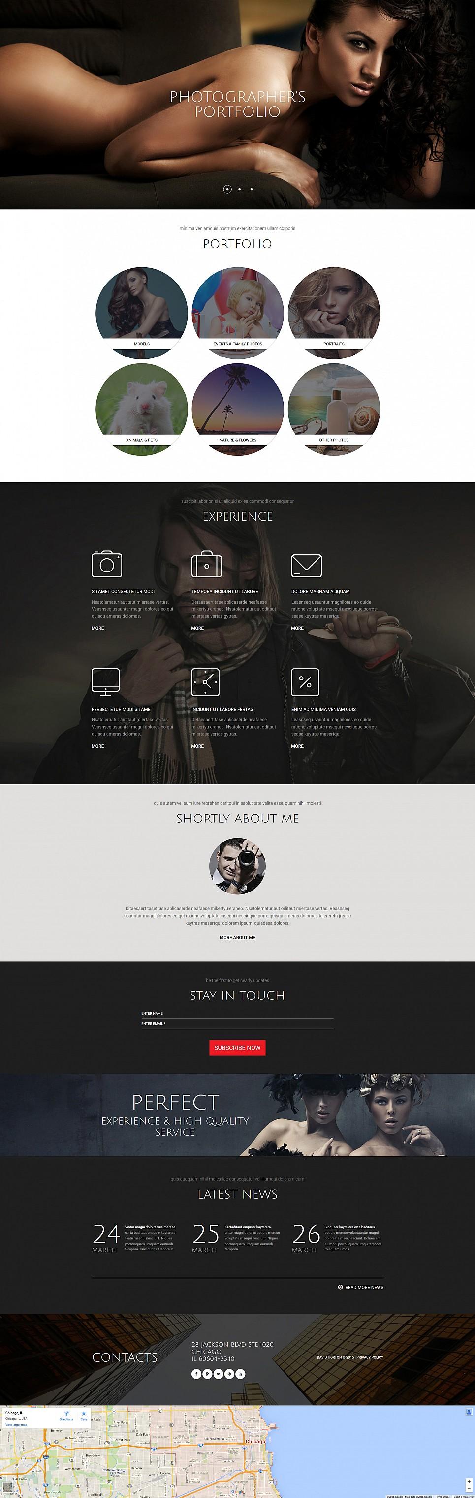 Online portfolio theme for photographers