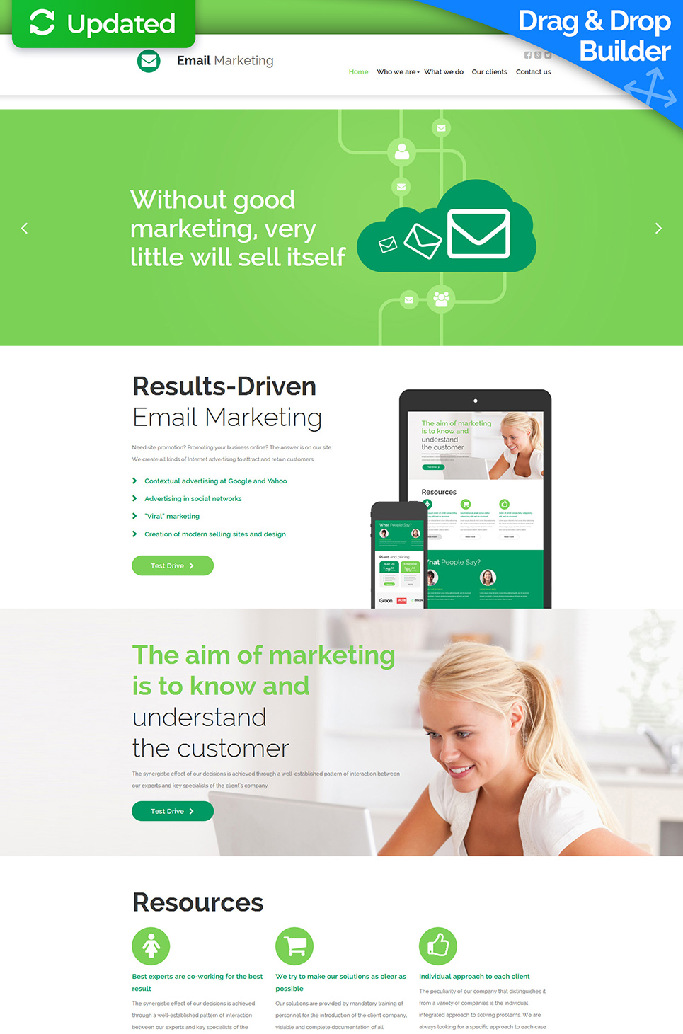 White and green web template for software company