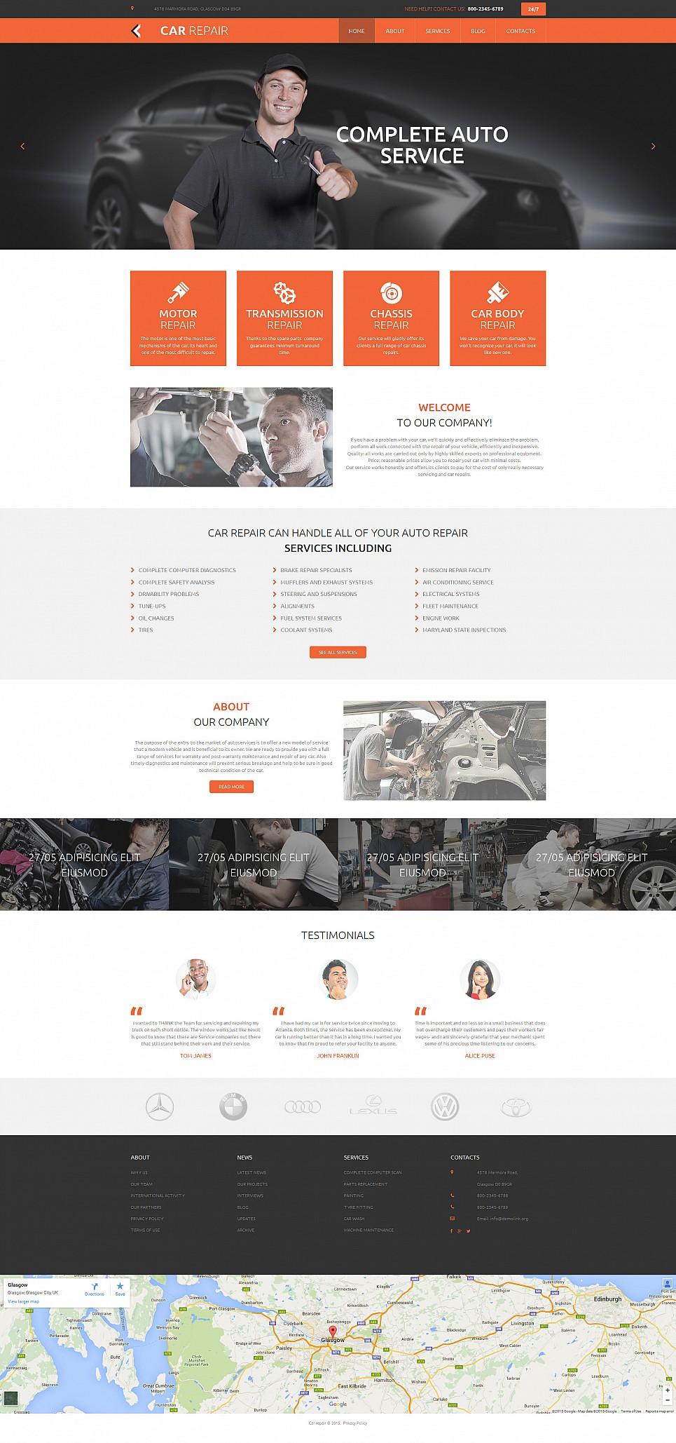 Automobile repair site template