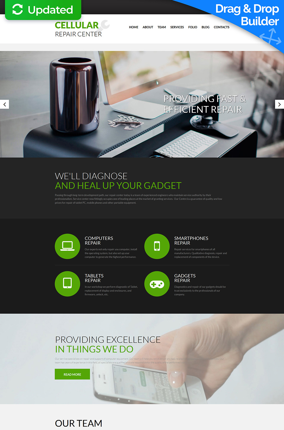 Mobile devices maintenance site theme