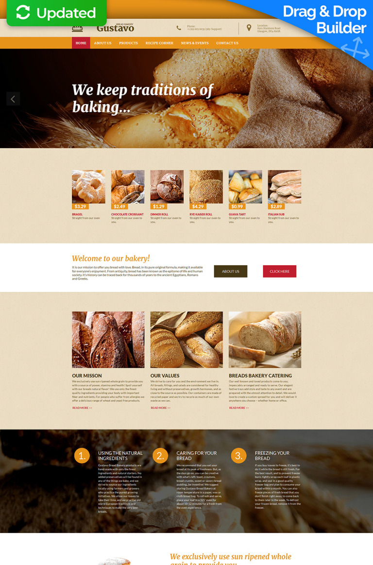 Bakery Responsive Moto CMS 3 Template New Screenshots BIG