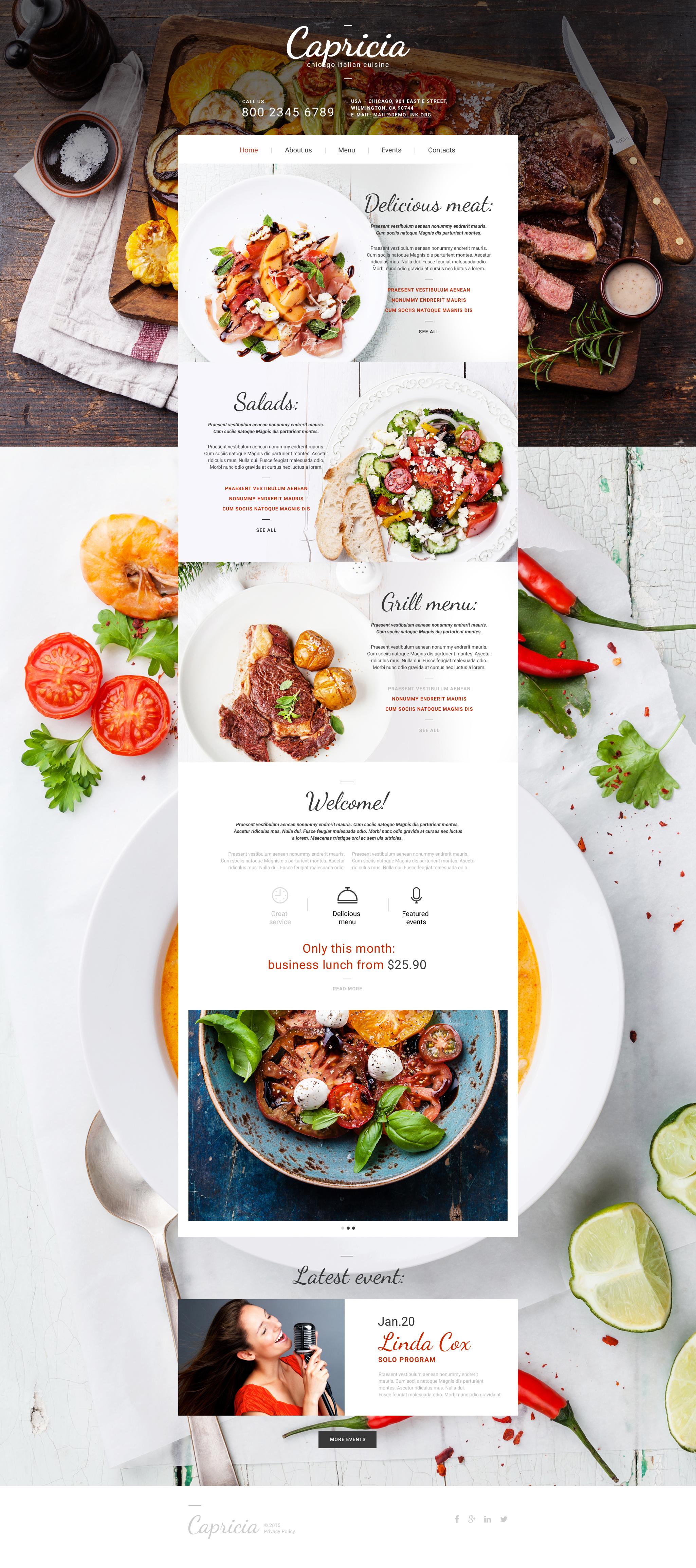 Cafe and Restaurant Website Template - screenshot