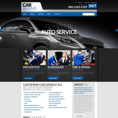 Car repair templates templatemonster - Site internet garage automobile ...
