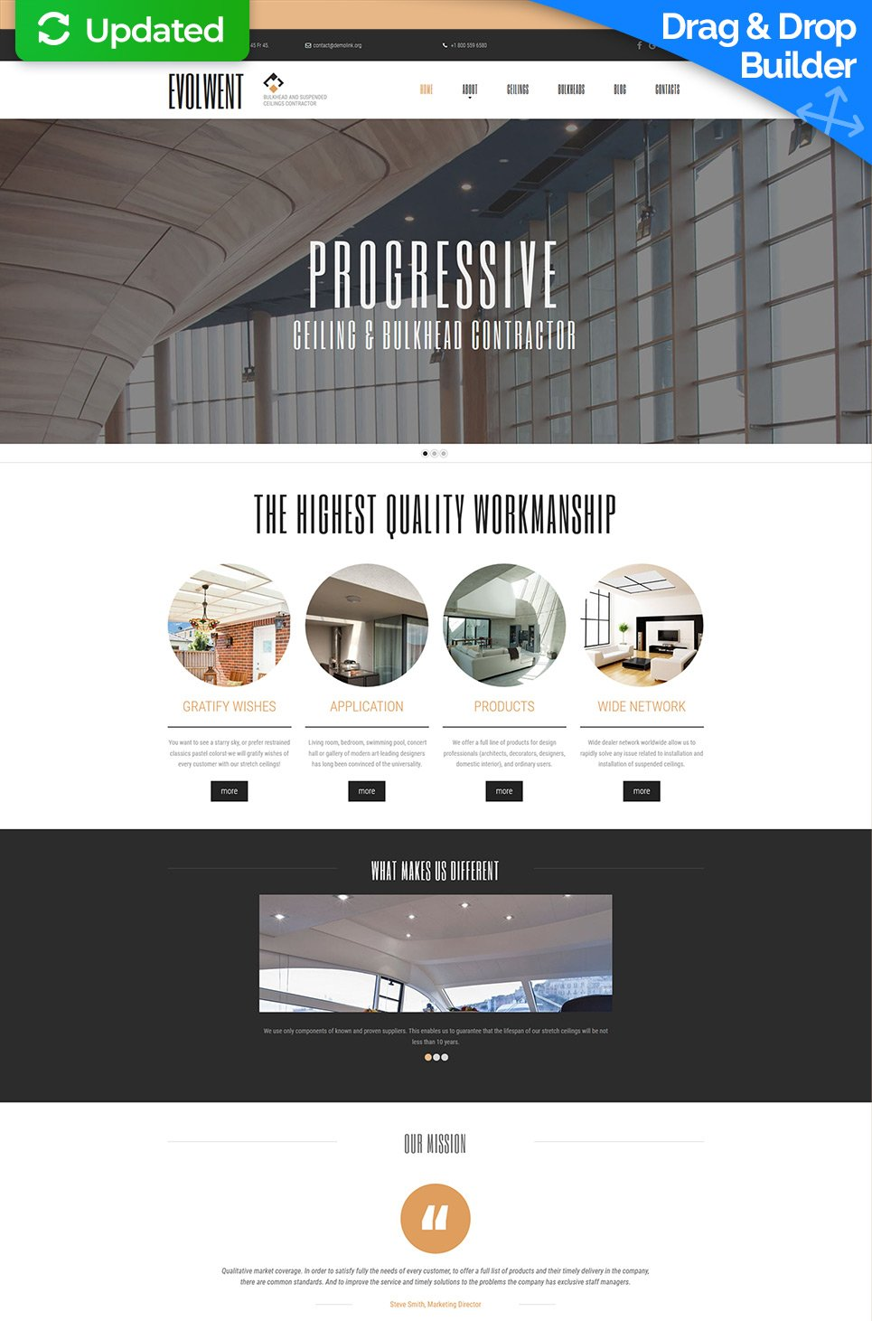 Construction Company Website Builder | Responsive Moto CMS 3 Template #55859