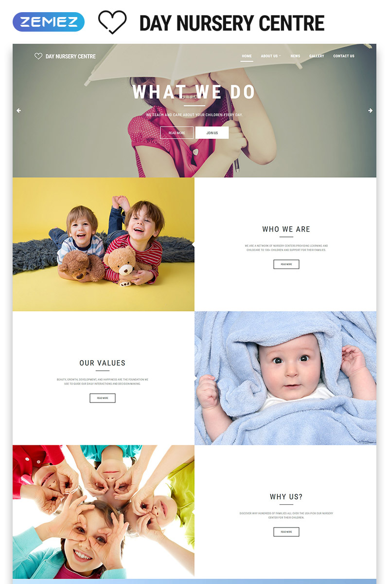 """Day Nursery Centre - Kids Center Minimal HTML Bootstrap"" 响应式网页模板 #55802"