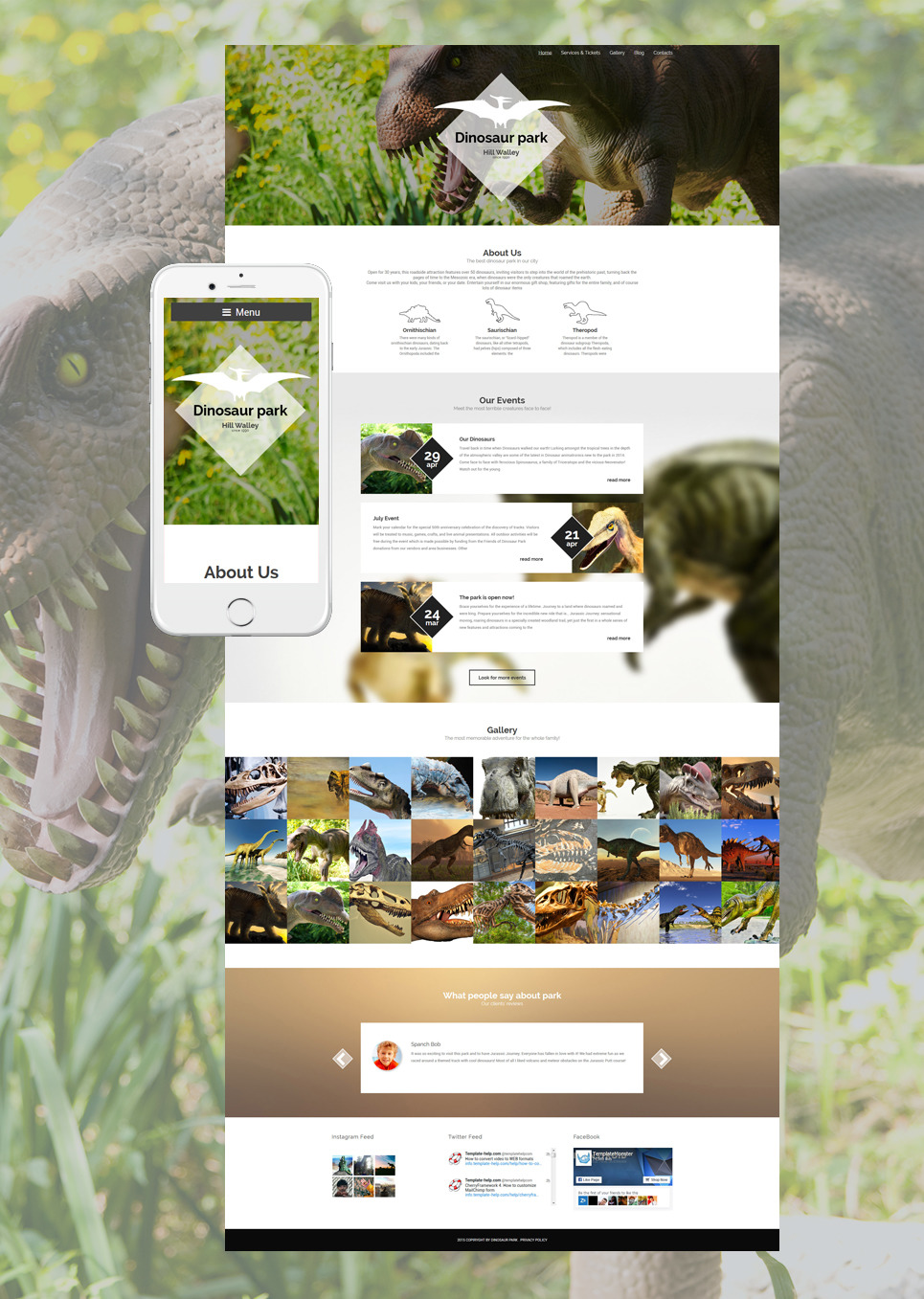 Dinosaur Park WordPress Theme New Screenshots BIG