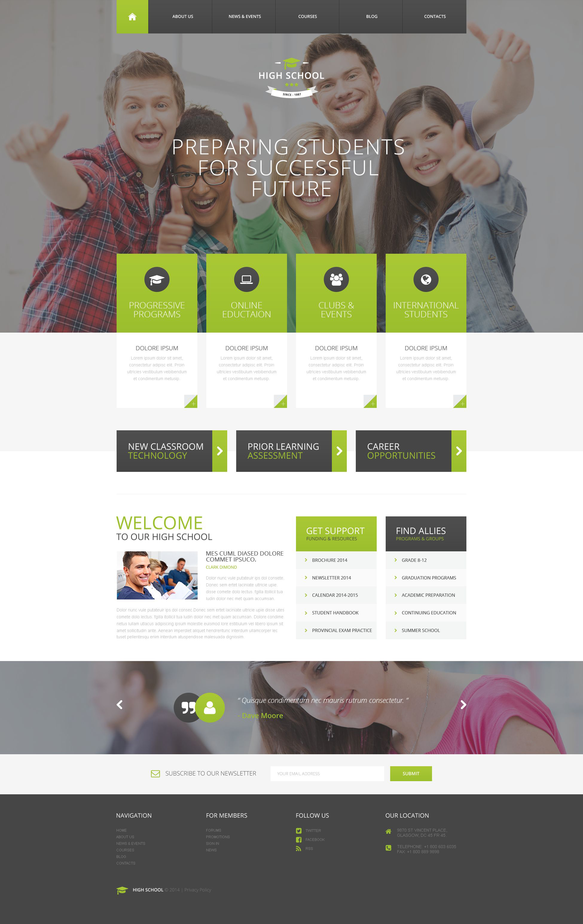 High School PSD Template - screenshot