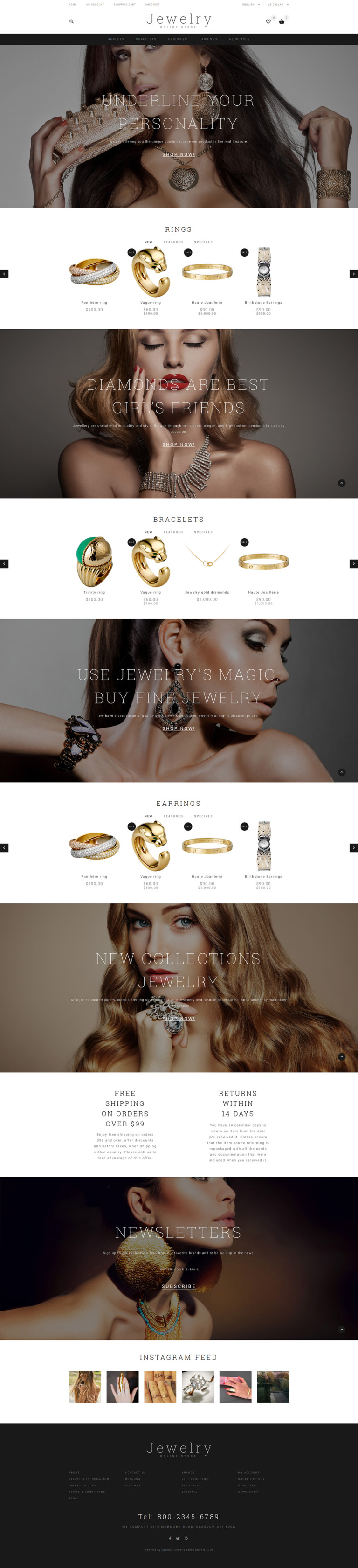 Jewelry Showcase OpenCart Template New Screenshots BIG