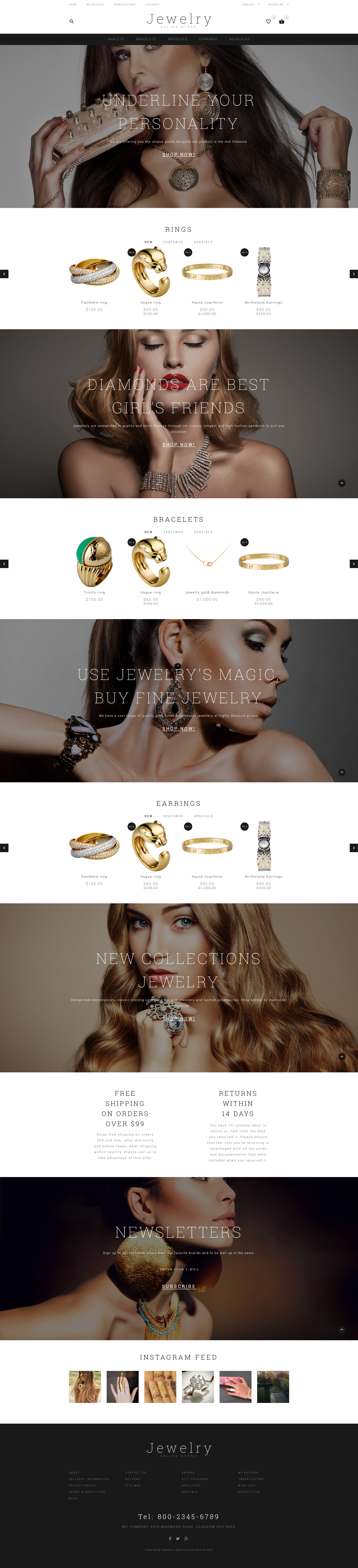 Jewelry Showcase OpenCart Template - screenshot