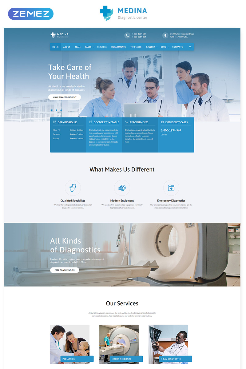 Medina - Diagnostic Center Multipage HTML Website Template