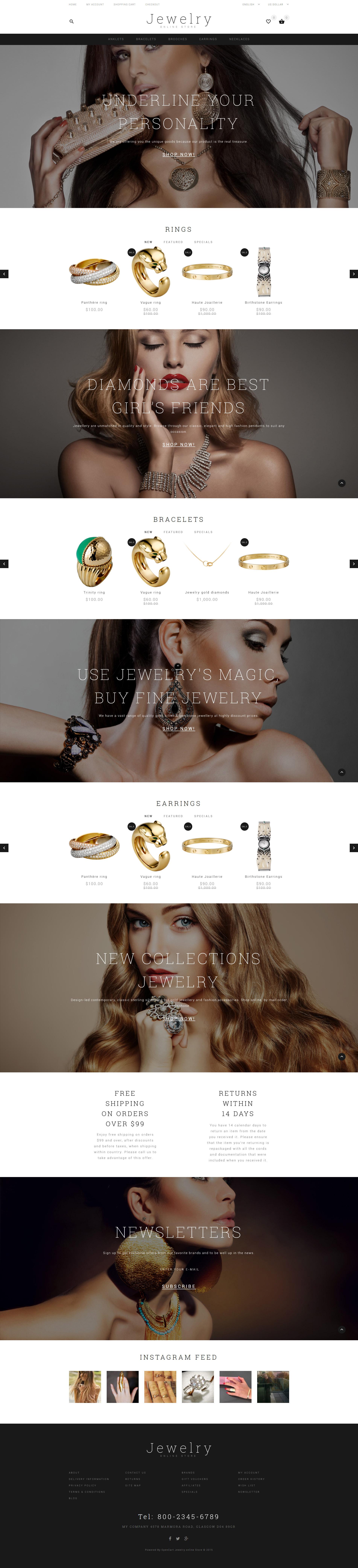 """OpenCart Vorlage namens """"Jewelry Showcase"""" #55818 - Screenshot"""