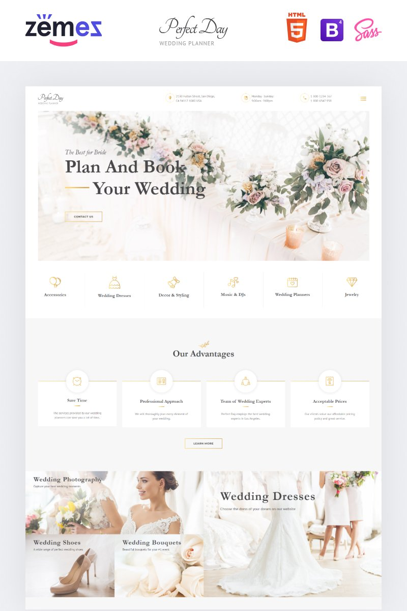 """""""Perfect Day - Wedding Planning Multipage HTML"""" Responsive Website template №55805"""