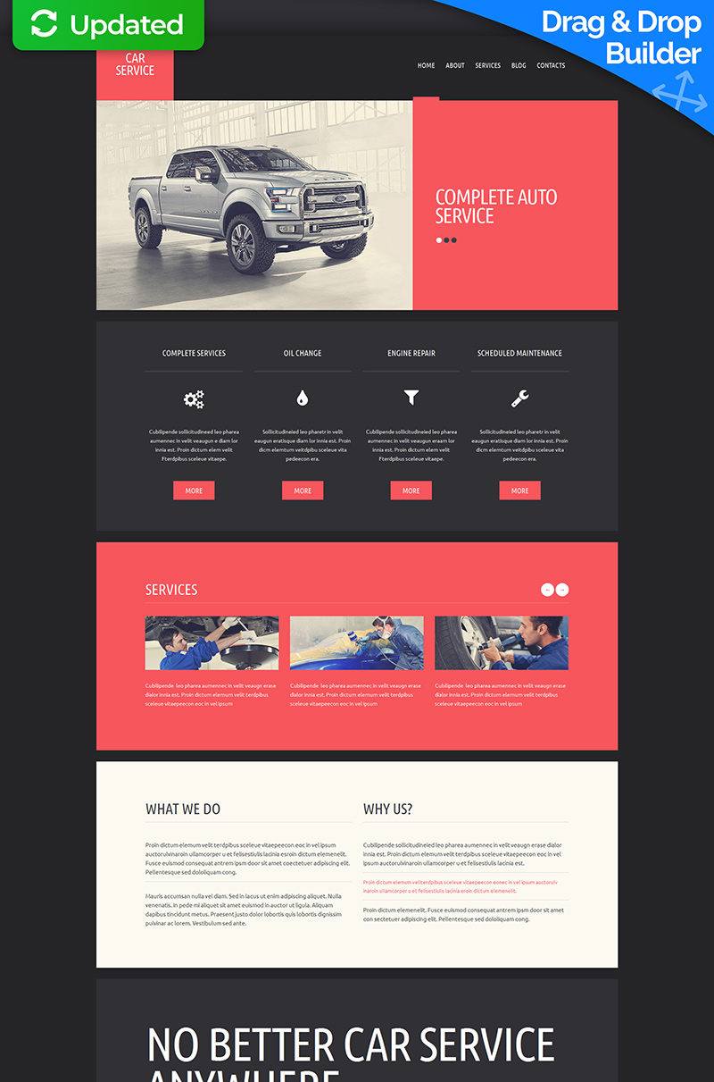 Responsive Moto CMS 3 Template over Autoreparatie №55856 - screenshot