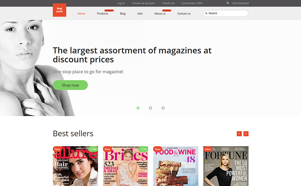 Reszponzív Folyóiratok Shopify sablon New Screenshots BIG