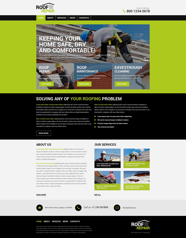 """""""Roof Repair"""" PSD Template №55829 - screenshot"""
