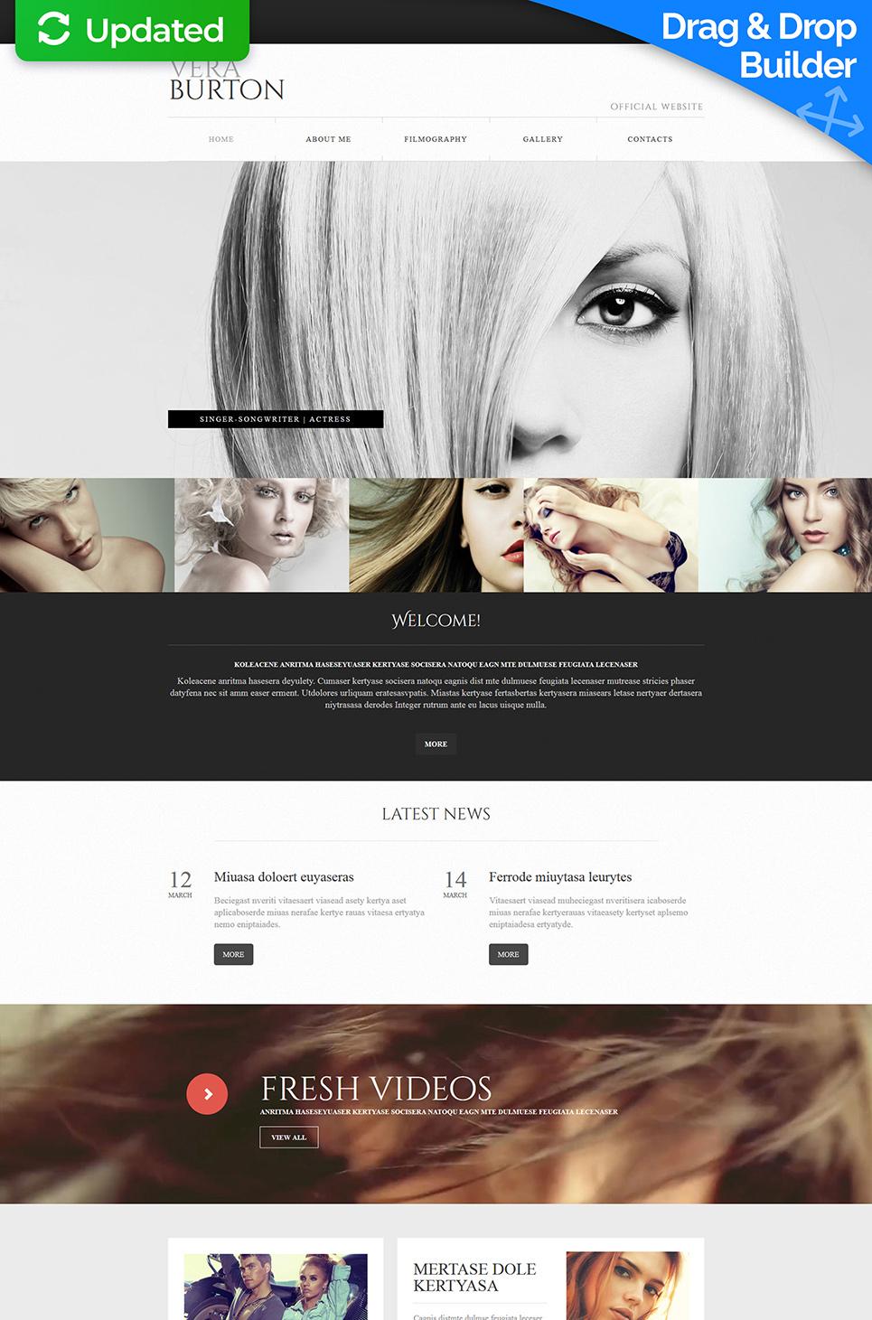 Actress Website Builder   Responsive Moto CMS 3 Template #55853
