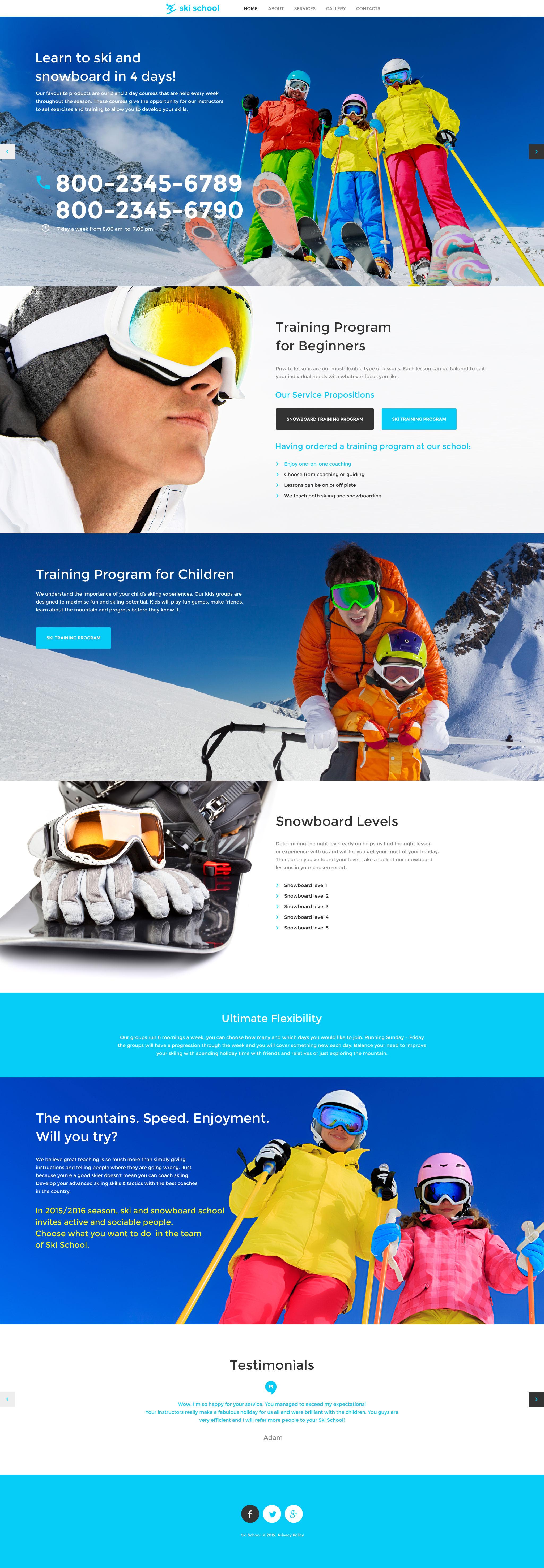 Skiing Responsive Website Template - screenshot