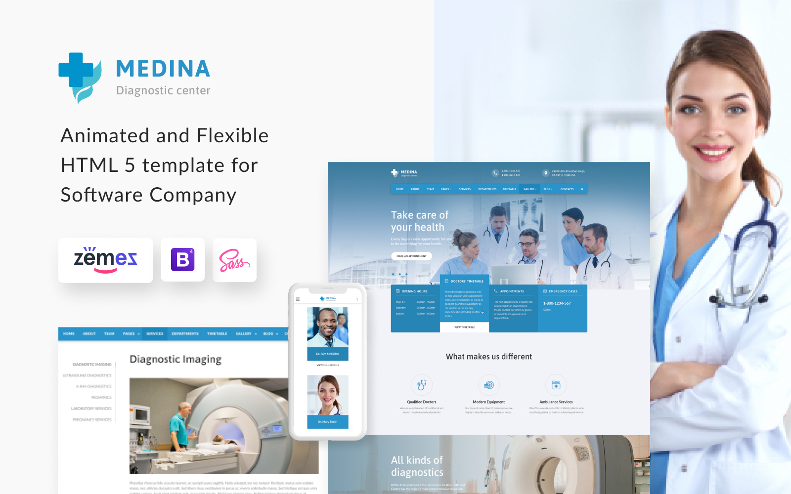 "Website Vorlage namens ""Medina - Diagnostic Center Multipage HTML"" #55809"