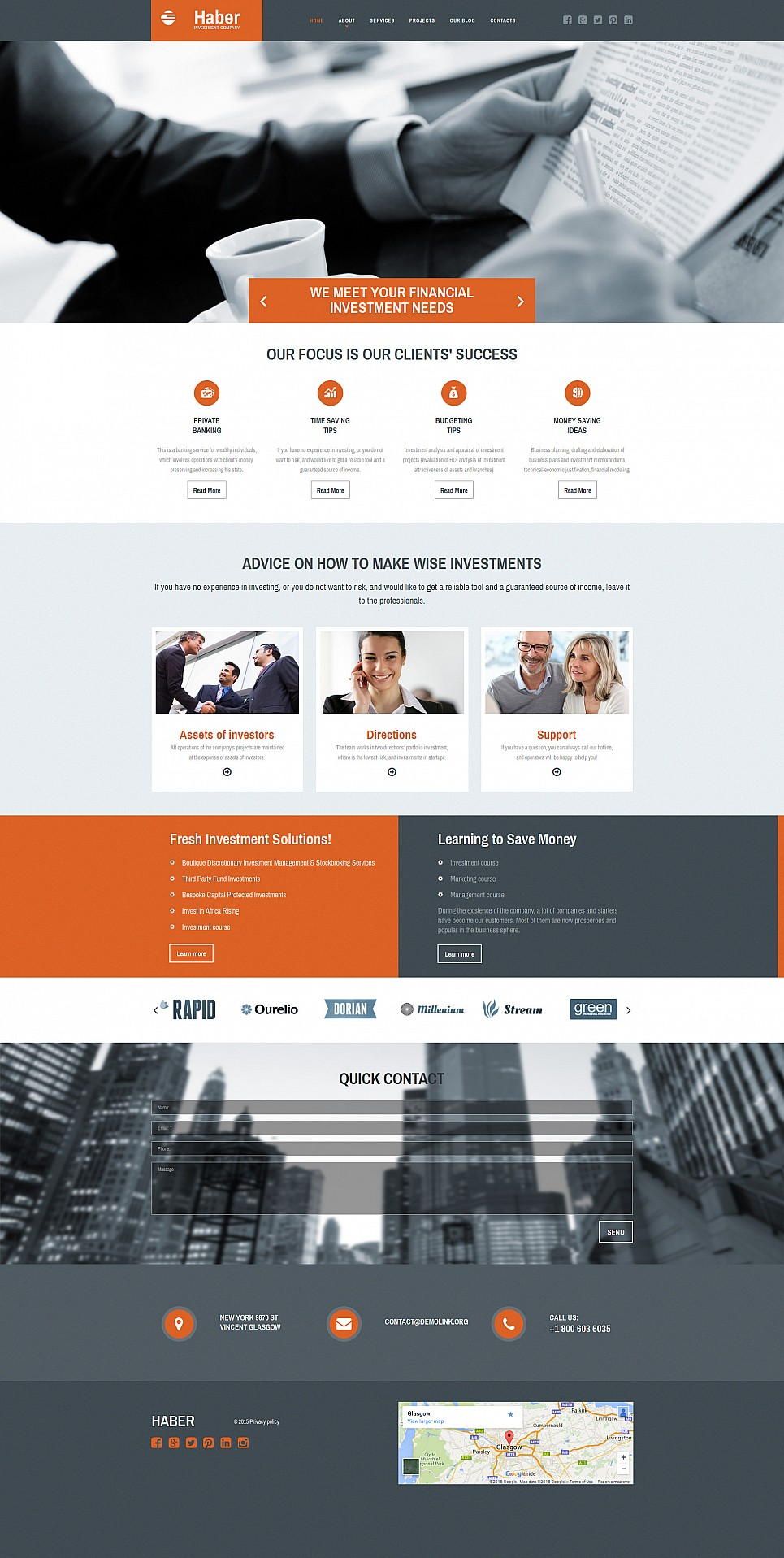Responsive site for business investors