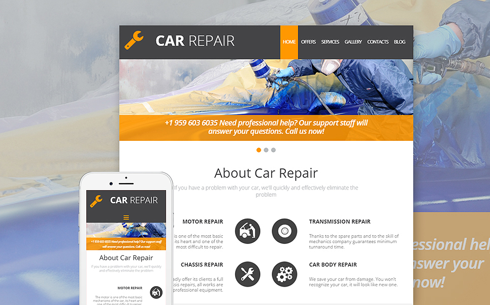 Responsive site for automobile restoration